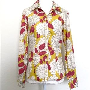 Boden floral button down long sleeve blouse